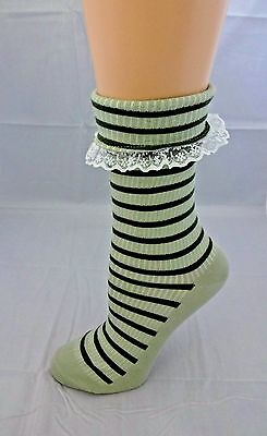 Ladies Striped Socks Light And Olive Green White Lace Cuff Cotton Blend Nouvella