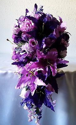 Lavender Rose Bridal (Purple Lavender Rose Tiger Lily Cascading Bridal Bouquet &)