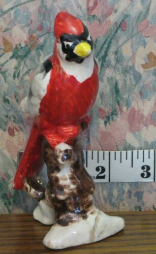 "Ceramic or Porcelain Red Cardinal Glazed Figurine - 5"" - Japan 1960s / 1970s Vtg"