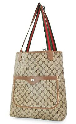 Authentic Vintage GUCCI Brown GG PVC Canvas and Leather Tote Bag Purse #37308