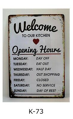 Tin Sign Welcome To Our Kitchen Quote Open Hours Rules Retro Metal Signs Plaques