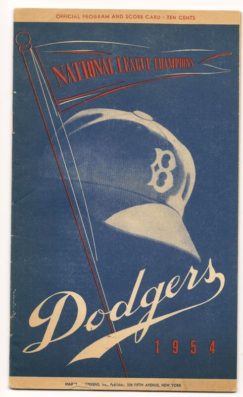 1954 Brooklyn Dodgers-Phillies Program 3 Dodgers Homers Sink Phils BEAUTY!!