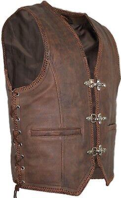 Vintage Leder Braun (Herren Vintage Braun Lederweste Weste Kutte Bikerweste Lederkutte Rockerweste )