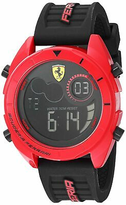 Ferrari Men's Forza Quartz Watch with Silicone Strap, Black, 22 (Model: 0830549