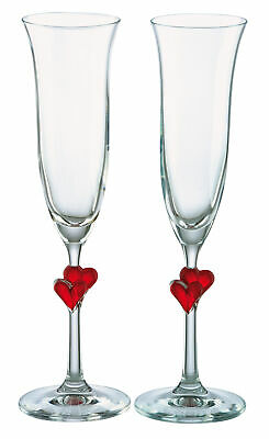 Amour Flutes - Stolzle Set of 2 L'Amour Red Heart Champagne Flutes Glass Stemware Boxed Wine