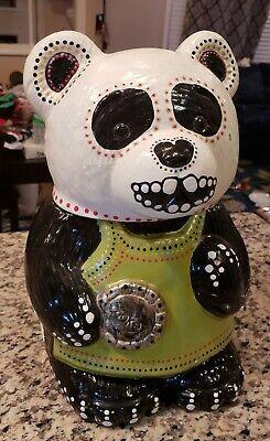 """EUC Bear Sugar Skull Large Halloween Cookie Jar 10"""" Tall Black Handmade OOAK!!"""