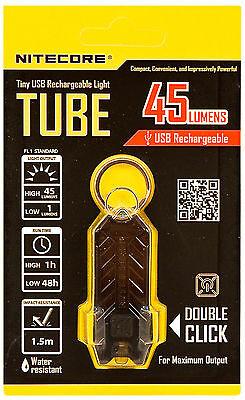NEW Nitecore TUBE Tiny USB Rechargeable LED Keychain Light 45 Lumen  - BLACK