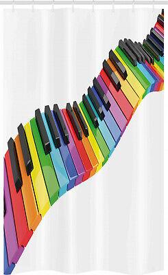 Musik Schmaler Duschvorhang Leuchtende Tastatur Kunst