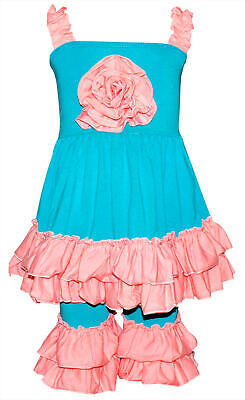 Girls Ruffled Summer Tank & Capri Boutique Outfit 2t 3t 4t 5 6 7 8 years -