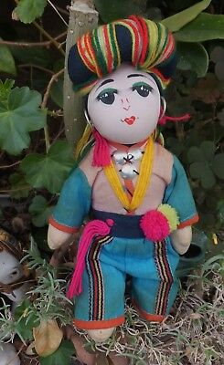 Antique Buddhist Indonesian Colorful BoyDoll  Cloth Doll Handmade