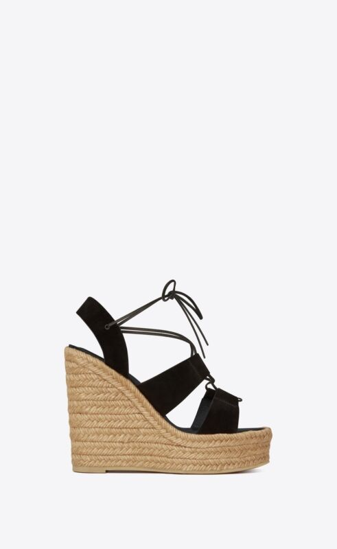ed1edabe110 Saint Laurent YSL Espadrille 95 Wedge Black Suede Platform Sandals ...