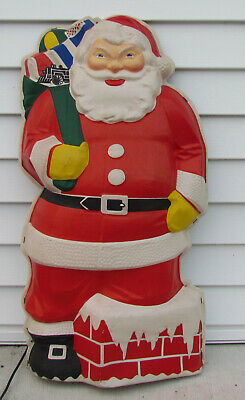 "Vintage Glolite Illuminated Santa Christmas Thin Plastic Blow Mold Hanging 30"""