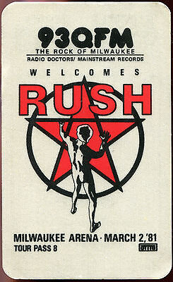 RUSH 1981 Moving Pictures Concert Tour Backstage Pass!!! Authentic OTTO