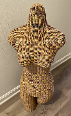 Vintage 1960s Wicker Woman Torso Model Mannequin Female Dress Form