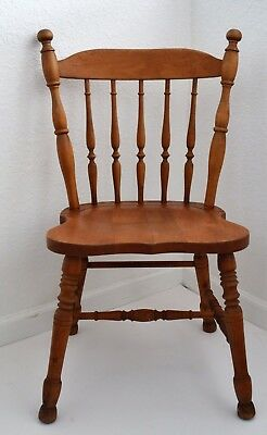 ANTIQUE ENGLISH  SPINDLE BACK  KITCHEN CHAIR COUNTRY BRITISH FARMHOUSE