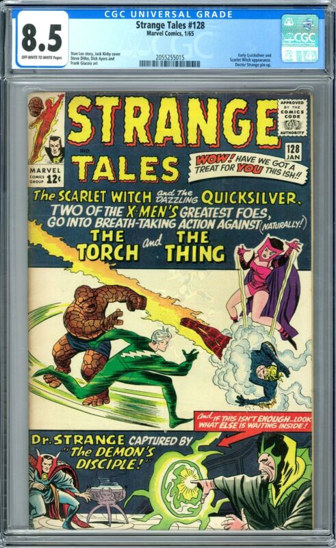 Strange Tales #128 CGC 8.5 (OW-W) Early Quicksilver and Scarlet Witch Appearance
