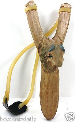 BUFFALO BISON WOODEN HAND CARVED SLINGSHOT SLING SHOT HIGH POWER RUBBER - Wooden Slingshots