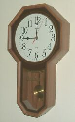 Linden Schoolhouse Style Walnut Wall Clock, Large Easy to Read Standard Numerals