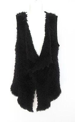 Fur Sweater Vest (KENSIE Faux Fur Fuzzy Open Front Vest Sleeveless Duster Cardigan Sweater Women L )