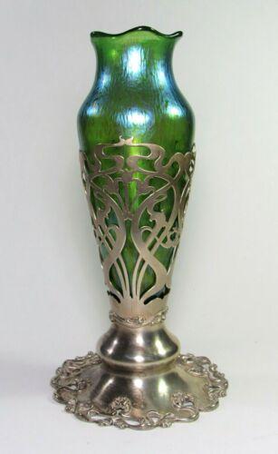 LOETZ Papillon Glass Vase w/ Sterling Silver Meriden Britannia Co Stand c.1900
