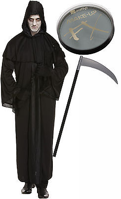 Grim Reaper Death Robe Mens Halloween Fancy Dress Costume Sythe Face Paint - Halloween Grim Face