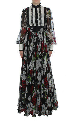 DOLCE & GABBANA Dress Silk Black Red White Roses Maxi IT38 / US4 / XS RRP $6000
