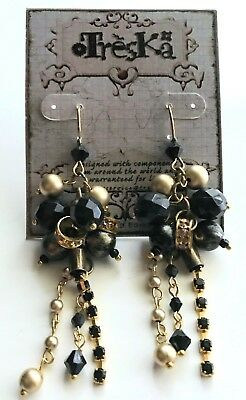 - Treska ALEXANDRIA beaded wire back LONG dangle runway earrings