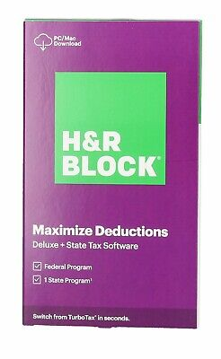 H&R BLOCK Tax Software Deluxe + State Download Physical Key Card 2020