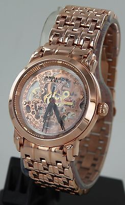 Akribos XXIV Men's Rose Gold Tone Automatic Skeleton Watch (AK-50089)