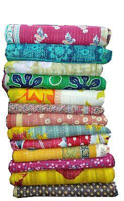 Indian Vintage Handmade Kantha Quilt Reversible Cotton Throw Wholesale Lot 10 pc