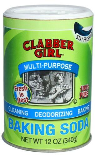 Clabber Girl Baking Soda 100% Pure Sodium Bicarbonate 12 oz canister