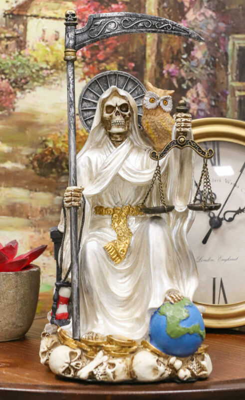 Ebros White Robe Holy Death Santa Muerte Day of The Dead Protection Figurine