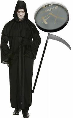 Grim Reaper Death Robe Mens Halloween Fancy Dress Costume Scythe Face Paint - Death Face Paint Halloween