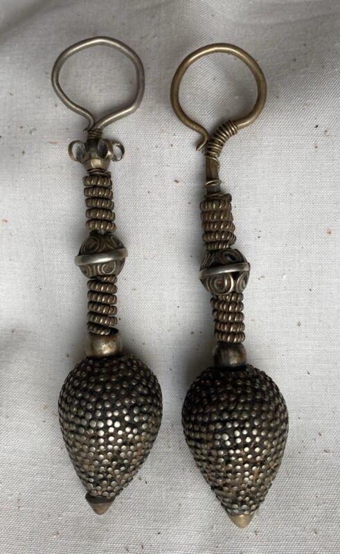 Antique Indian Rabari Rajasthan Gujarat Nagali Silver Earrings Tribal 19th C.