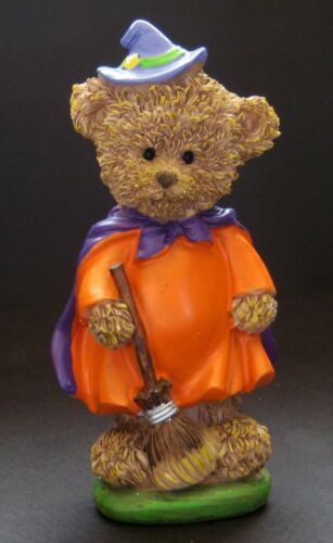 """Halloween Witch Teddy Bear 4-3/4"""" Resin Figurine with Hat, Cape, Broom"""