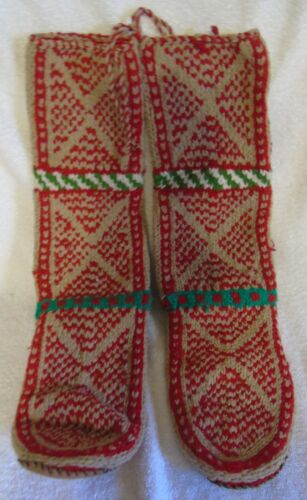Vintage M Hand Made Knit Wool Socks Leather Soles Red Tan Green Medium