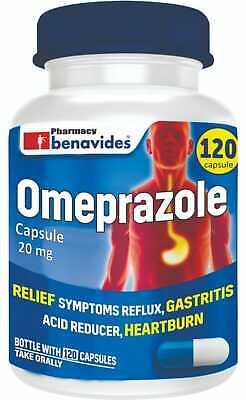 Omeprazole 20 mg OTC Heartburn Acid Reflux 1 Bottle 120 Total Capsules