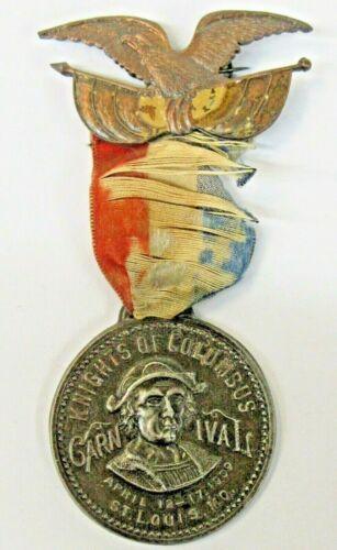 1909 KNIGHTS OF COLUMBUS CARNIVAL St. Louis medal badge pinback ^