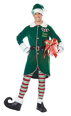 Christmas Workshop Elf Santa Helper Adult Men's Costume - Santa Costumes For Men