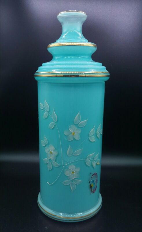 """Large Blue Glass Apothecary Jar Enamel Painted Butterfly & Flowers Gold Trim 15"""""""