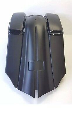 """HARLEY 6"""" DOWN AND OUT 14"""" BACK STRETCHED SDDLEBAGS OVERLAY FENDER 1997-2008 FLH"""