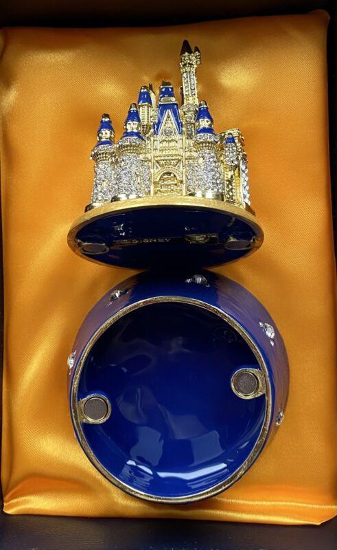 Disney Parks Arribas 50TH Anniversary Cinderella Castle Jeweled Trinket Box New