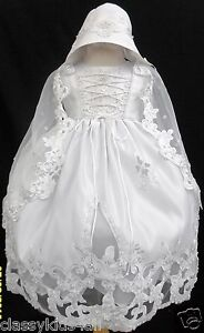 New-Infant-Baby-Toddler-Girl-White-Christening-Baptism-Dress-Gown-Size-NB-30M