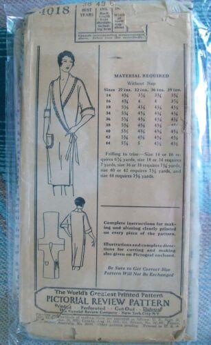 Pictorial Review Antique 20s Pattern #4018 Flapper Wrap Robe Lingerie