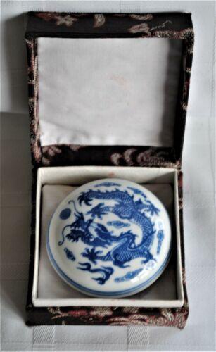 Vintage Asian Blue Dragon White Porcelain Stamp Red Ink Pot in Box Signed