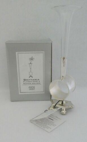Flower Vase & Napkin Holder Victorian Reproduction Silverplate NOS Brittania