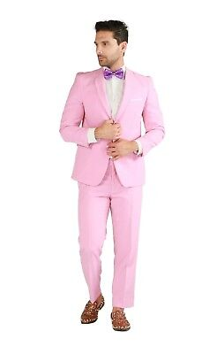 New Mens Pink Christmas Party Suit TUXXMAN Fashion Slim Fit Holiday - Mens Christmas Suits