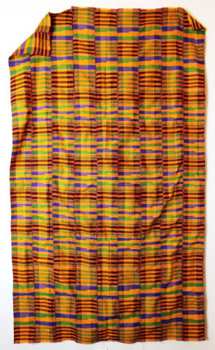 Authentic African Handwoven Kente Cloth made in Ghana, 36 X 60 inch Multicolor 2