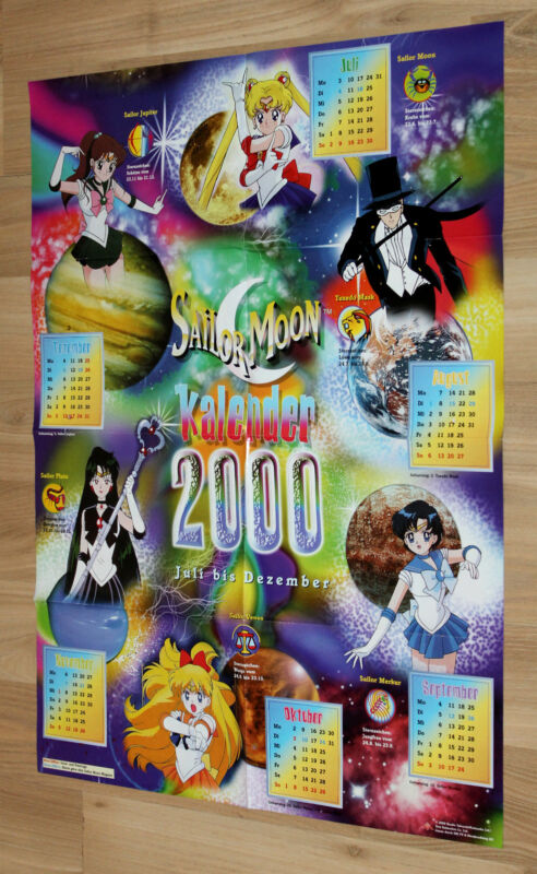 Sailor Moon Manga Anime Rare Old German Calendar Year 2000 Poster 48x66cm