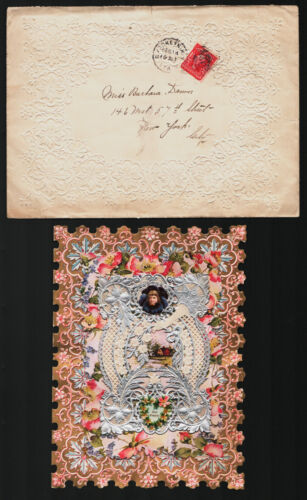 Beautiful Victorian Valentine in Embossed Envelope Brooklyn NY Cancel V56